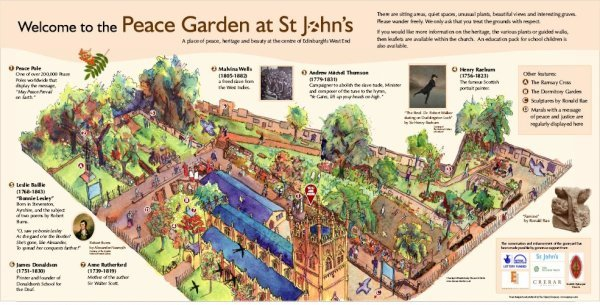 Outdoor panel showing significant locations in St John's Peace Garden, in collaboration with graphic designers The Osprey Company